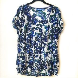 Vera Wang Short Sleeve Floral Scoop Neck Top